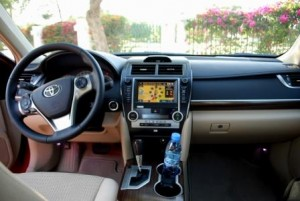 Camry 2012 has a well-equipped console with a graphic touch screen