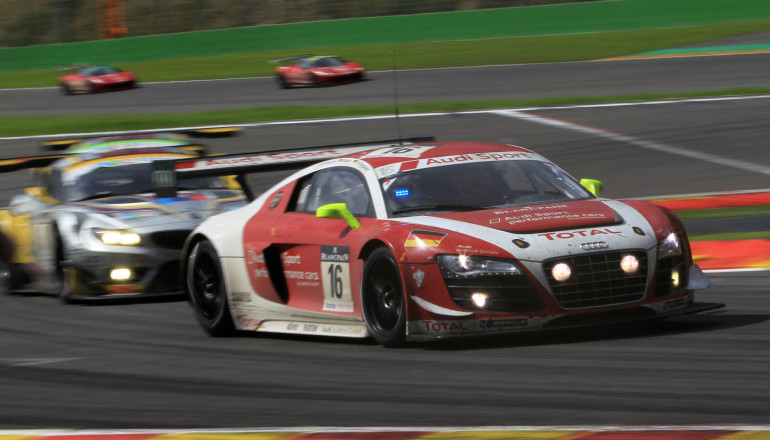 Audi R8 and BMW Z4 GT3 shared the podium between the two marques among the 66 sports cars from twelve different brands at the 54th running of the 24-hour race on the Grand Prix circuit in the Belgian Ardennes.