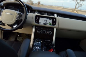 The all new Range Rover has a dual view screen and a monitor for the driver.