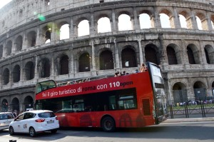 Rome holiday bus sightseeing colossus