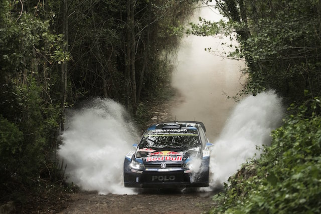 Sebastien Ogier performs during FIA World Rally Championship 2015