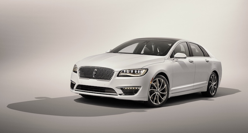 Available Driver's Package for 2017 Lincoln MKZ with 3.0-liter V6 also includes 19-inch wheels, Ebony-painted calipers, light Magnetic-painted grille, Ebony interior with carbon fiber appliqués, customizable multi-contour seats and aluminum pedal covers. In addition, the package features retuned continuously controlled damping and suspension for enhanced driving dynamics.
