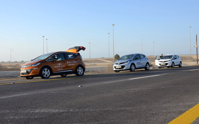 Chevrolet Bolt EV line up during the ongoing EVRT Middle East.